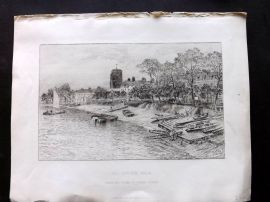 Arthur Severn 1882 Art Journal Etching. Old Cheyne Walk. Chelsea London